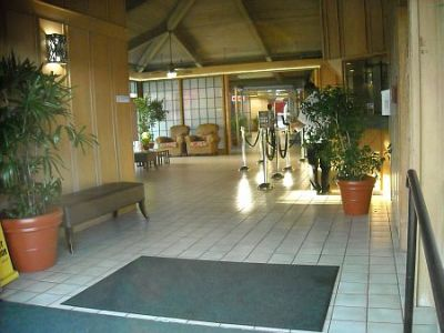 The unprepossessing lobby at the pagoda Hotel.