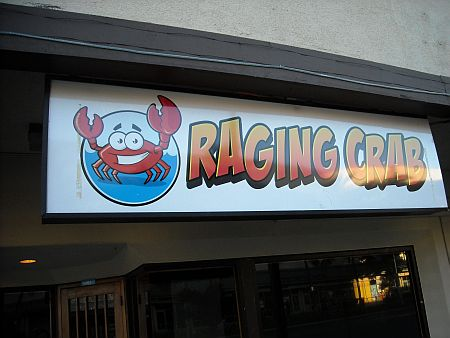 Raging crab has goofy grin.