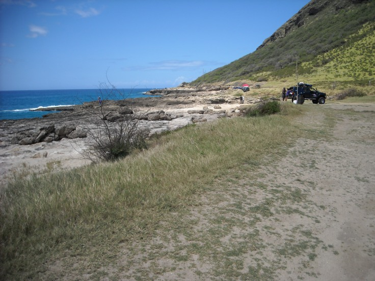 """The rail to Ka'ena Point. Keep walking around the point and you'll come to Oahu's """"North Shore""""."""