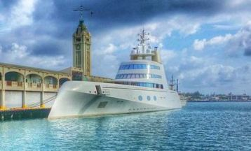 "Mega Yacht ""a"" berthed at Aloha Tower."