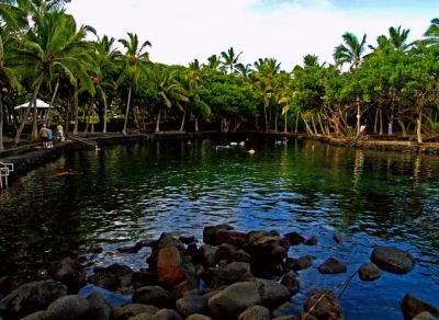 The Ahalanui Hot Pond at Pu'ala'a County Park in Puna, Hawaii: Photo by Donald B. MacGowan