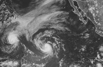 Look how close Hurricane Julio is to Iselle. This is the more threatening of the two storms headed our way.