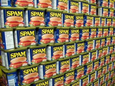 Hawaii retailers anticipate the demand. This wall of Spam will be gone by end of today.