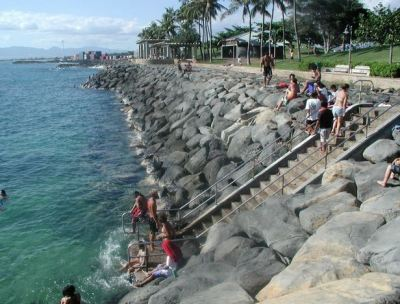The promenade, seawall and access stairs.