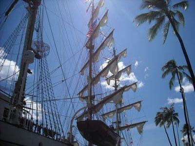 Beautiful day; beautiful ship.