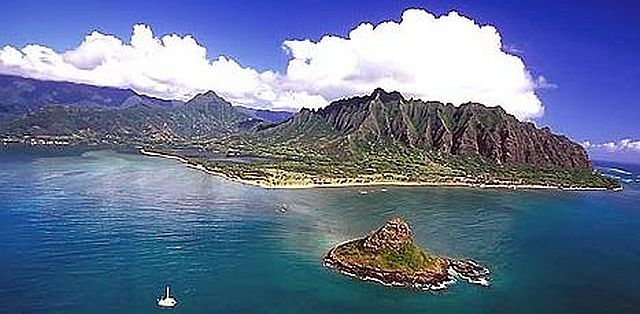 "The small island is Mokoli'i, often called ""Chinaman's Hat."""