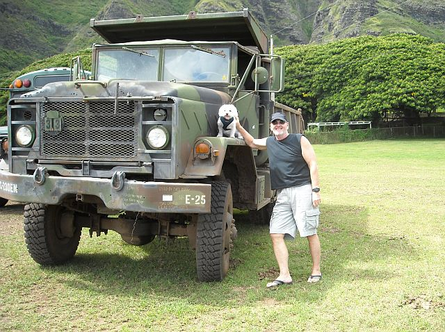 Max gets his military on with one of the Ranch's deuce-and-a-half trucks.