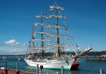 "She's a ""Barque,"" 220 feet at the waterline, 1800 tons and with a crew of 186."