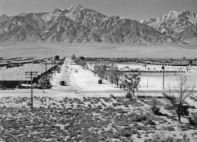 Ansel Adams' 1943 phot of the Manzanar Relocation Camp entrance.