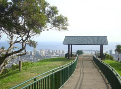 The short walk at Pu'u Ualaka'a ends at this little pavilion overlooking Honolulu.