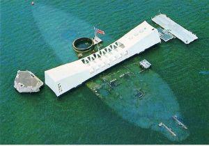 The USS Arizona Memorial at Pearl Harbor.