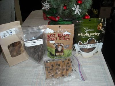 Just some of the dog delicacies that Max received as Christmas presents. Whatever happened to kibble and a bone?