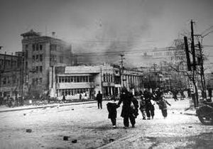 The Ginza area, Tokyo's major commercial and shopping area following aerial bombing, 27 Jan 1945.
