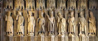 These are the Nine Worthies. Like the Rockettes they are all about the same height.