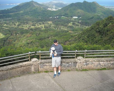 The pup and I enjoying the panoramic view from the Pali Lookout.