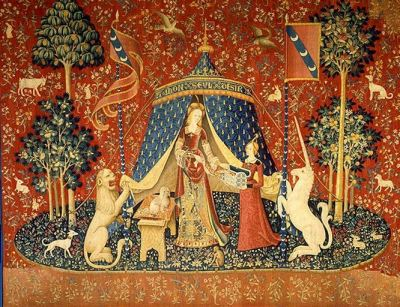 Notice the Malt on the tapestry. It's a symbol of fidelity or perpetual appetite, one or the other.