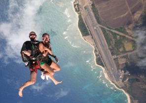 Parachute jumping over Dillingham. Not for me. No, thank you. Photo credit: Honolulu Magazine
