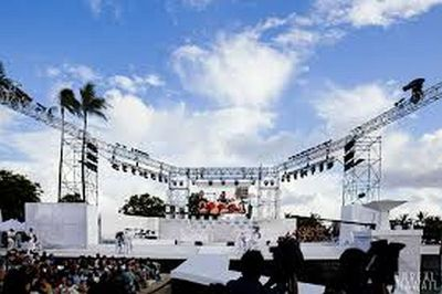 The main stage at Ala Moana Beach park.