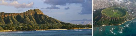 View of Diamond Head from Waikiki Beach and from overhead showing the crater.