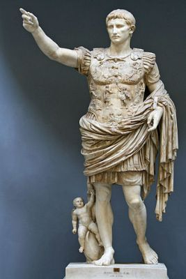 "Here's Augustus whose name means ""month that is hotter than the gates of hell"" in ancient Roman talk. The little kid is Cupid, son of Venus. This is an unsubtle reference to the claim that the Julian family was descended from the goddess Venus."