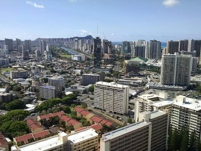 A view from the top of our condo building with Diamond Head in the background.