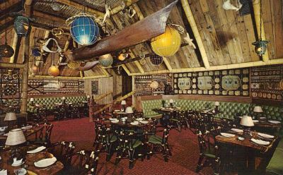 The interior of a Trader Vic's Tiki Bar & Restaurant. This one was in Boston I believe. Not my photo.
